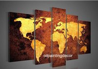 Cheap Hand Painted Canvas World Map Wall Art Large OilPaintings Set 5 Piece Decoration Modern Abstract Picture Brown Golden Canvas Art