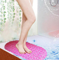 Wholesale Cobblestone style Bath mat PVC shower Non slip mat with suction bathroom supplies square waterproof pad