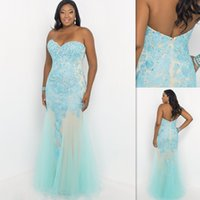 Reference Images champagne tulle lace prom dress - Plus Size Formal Dresses Prom Light Sky Blue Lace And Tulle Sweetheart Sheath Long Evening Gowns Fitted Special Occasion Party Dress