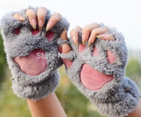 Wholesale 60pair Fluffy Bear Cat Plush Paw Claw Glove Novelty Halloween soft toweling lady s half covered gloves