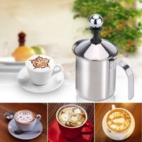 Wholesale 400ml Stainless Steel Milk Frother Coffee Makers Double Mesh Milk Foamer DIY Fancy White Coffe Creamer for Cappuccino Latte