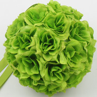 pomander - New MIC inches inches Green Kissing Ball Pomander Flowers Crystal Pew Bows Ball Wedding Party Supplies