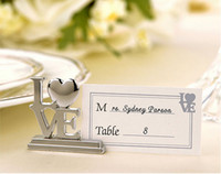 Wholesale Fashion Wedding favor LOVE Metal Place Card Holder with Matching Place Card Silver wedding gift