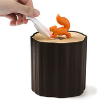 abs plastic roll - New arrive Creative plastic ABS squirrel stump tissues box kitchen roll paper holder Cartoon squirrel stump roll holder
