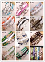 Wholesale Infinity Bracelets Mixed styles Fashion Jewelry Leather Infinity Charms Bracelet Vintage