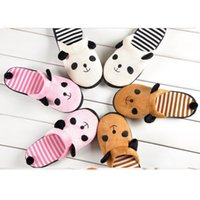 Wholesale Fashion New Popular Panda Striped Skidproof Home Slippers Lovely Animal Slippers Winter Warm Plush Slippers