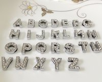 alphabet - 52PCS Hot MM Full Rhinestones Slide Letters A Z Alphabet DIY Slide Charms Fit MM Wristbands Bracelets Belts Collars SL01