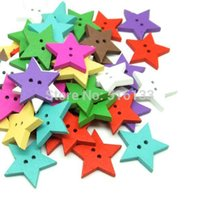 Cheap Free Shipping 150pcs lot 23x23mm Random Mixed Color 2 Holes Star Shape Wood Sewing Buttons Beads Scrapbooking
