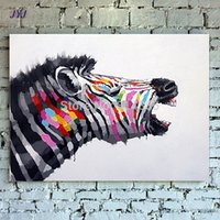 Wholesale yelling zebra Direct From Artist Hand painted Modern Abstract Oil Painting On Canvas Wall Art Decoration Gift CT013