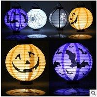 10pcs CCA2277 2,015 nouveauté Halloween Bats Hanging décorations en papier citrouille araignée Skull <b>Lantern</b> Halloween Décoration de citrouille LED Light Lanternes