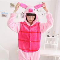 adult bunny pajamas - Pink Pig Bunny Kigurumi Unisex Costume Adult Animal Onesies Cosplay Sleepwear Homewear Christmas Pajamas Set Flannel Hoodies