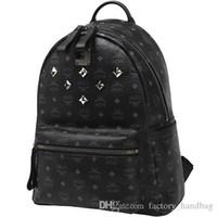 Wholesale Spring Fashion Classic MCM Large STARK BACKPACK VISETOS Shoulder Backpack Bag Rain girlhood Element Rivets Love Backpack Bag colors