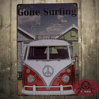 antique vw - VW Camper Gone Surfing Tin plate Metal Plaque Wall Art Sign New
