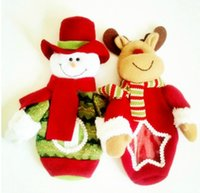 Wholesale Christmas decorations The snowman elk candy bag foreign trade tail single decorative props doll gift bags