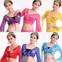 hand embroidered garments - 2015 Hand made Belly Dance Choli Blouse Embroidery Garments Elastic Veiling Sexy Dance Top Bra For Ladies Colors