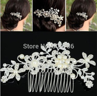 Wholesale Fashion Girls Womens Crystal Elegant Silver Wedding Bridal Hair Comb Pearl Hair Pin Clip Clothing Accessories Jewelry Free