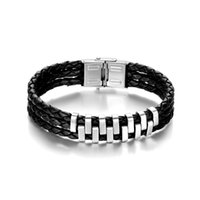 Wholesale Multi layer Mens ID Bracelets Cool Stainless Steel and Leather Fashion Bracelets for Sale Identification Bracelets B00068