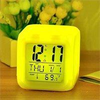 Wholesale New Glow Color Change Led Alarm Clock Calendar Temperature Desktop Digital Clocks Table Backlight Light Decoration