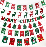 Wholesale Christmas decoration shops ceiling suspension layout pull flag Christmas decorations tree Festival flag flag eight hollow deer