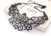 Wholesale Alloy Black Plated Hollow Flower Shorts False Collar Statement Necklaces Pendants Vintage Jewelry For Women N2
