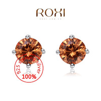 Wholesale 015 ROXI Sterling silver Stud earrings Fine Jewelry Silver AAA CZ Modelling Round Champagne Ear Stud Beauty Earrings