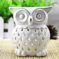 Wholesale Creative Owl Design White Ceramic Essential Oil Burner Aromatherapy Fragrance Container Air Freshener Holder Oil Candelabrum