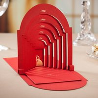 Coat Girl Spring / Autumn Customizable 3D Red Palace Wedding Invitations Cards With Envelope And Envelope Stickers Wedding Supplies HQ0033