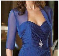 Wholesale Royal Blue Chiffon Sleeves Evening Jackets Boleros Bridal Jacket Plus Size Cheap Simple Bridal Coats For Mother of the Bride Dresses
