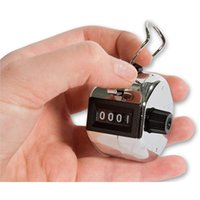 Wholesale 4 Digits Number Metalic Hand Tally Counter for Golf Sports Mini Hand held click Counter Chrome Palm