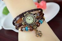 Wholesale Drop shipping Korean Vine Wrist Watches Clover Pendant handmade weave leather bracelet watch Analog Bronze women s Quartz watches