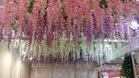 Wholesale 1 Meter Extra Long Artificial Silk Flower Wisteria Vine Rattan For Wedding Centerpieces Decorations Wedding Supplies