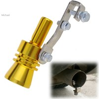 Wholesale New Universal Golden Turbo Sound Exhaust Muffler Pipe Whistle Fake Blow off BOV Simulator Whistler Size XL F