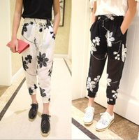 Cheap 2015 Kids Girls Harem Pants Cool Retro Chiffon Embroidered Flowers Elastic Casual Pants Baby Long Pants Childern's Clothing White Black