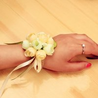 Wholesale In Stock Wedding Bouquet Bouquets For Brides And Bridesmaid Wrist Flowers Flower Hand Bouquet Wedding Accessary Wrist Corsage