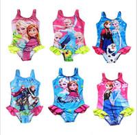 baby swimwear sale - hot sale Frozen kids girls Swimwear one piece bathing suit Children baby Girls Frozen Anna Elsa Swimsuit Cartoon Bikini Bodysuit Y