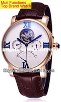 Wholesale Hot Watches men luxury brand automatic Muti functions Tourbillon real leather mens sport watch mens watches top brand luxury