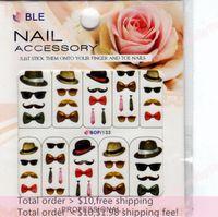 nail art glitter - Min order Nail Art Sheets Designs Men Hat Glass Beard Nail Sticker D Glitter Powder Nail Water Transfer BOP133