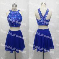 real diamonds - 2015 Sexy Halter Diamond Beaded Royal Blue Chiffon Two pieces Mini Cocktail Dresses E0028