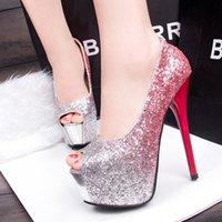 Heels ankle platforms - Sexy Bridal Wedding Shoes High Peep Toes Women Shoes cm High Heel Platform Pumps Luxury Hot Valentine