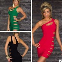 Wholesale One Shoulder Sexy club wear Sexy dress sexy underwear Sexy lingerie red green black M female clubwear dress club dress Slim skirt
