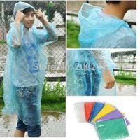 Wholesale 10Pcs Waterproof Plastic Disposable Raincoat Adult Emergency Waterproof Hood Poncho Travel Camping Must Rain Coat Unisex