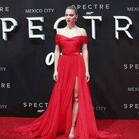 Скромная Красный вечерние платья шифон Ruffles Портрет с плеча платье 2015 платье красного ковра знаменитости Длинные партии мантий выполненное на заказ