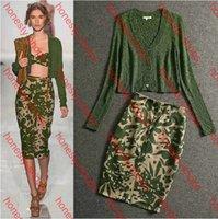 Wholesale HIGH QUALITY New Winter Fashion Designer Runway Suit Set Women s V neck Knitting Sweater Slim Skirt Set