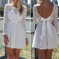 Cheap Chaming 1PC S-XL Sexy Women Casual Heat Padded Long Lace Sleeve Backless Party Evening Mini Short Dress Snow