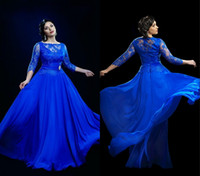 Cheap 2015 Mother of the Bride Illusion Neckline Chiffon Lace Prom Dresses Plus Size Formal Dresses Blue 3 4 Long Sleeves Evening Dresses L1264