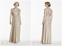 Wholesale Fashion Champagne Evening Dresses Lace Applique A Line Elastic Satin Spaghetti With Jacket Formal Dress Custom Made Arabic Vestidos