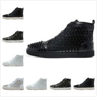 red bottom shoes - 2015 New Men s Women s Black Genuine Leather With Spikes High Top Red Bottom Sneakers Lovers Luxury Fashion Casual Shoes Drop Shipping
