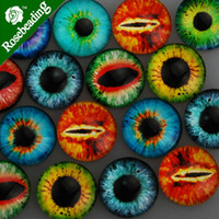 Wholesale 20MM Round pattern glass cabochons with mixed Dragon Eyes flat back thickness mm C4735