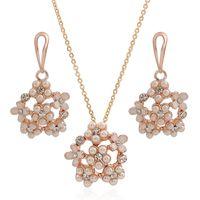 Cheap 3 Set  Lot Rose Gold Plated Pearl Jewelry Set Set Necklace & Earring Korean Style Flower Shaple Rhinestone Pendant For Women