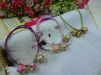 Wholesale Velvet collar Pet bell collar can be adjusted Cloisonne bell bell the cat and dog necklace dog